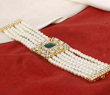 Indian Bollywood Gold Plated Pearl Green Stone Bracelet Fashion Jewelry