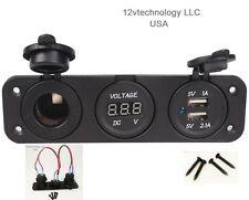 Triple 3.1 Amp USB Charger + Voltmeter +12 V Socket Panel Marine Outlet w/Jumper
