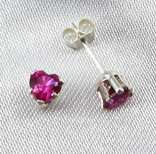 4mm Ruby Red HEART POST EARRINGS in SOLID 925 Sterling Silver Settings - NEW!