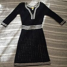 Catherine Malandrino Black White V Neck Knit Sweater Dress 3/4 Sleeve Nautical 6
