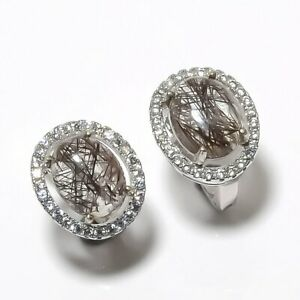"Sri Lankan Black Rutilated Quartz & CZ 925 Sterling Silver Earring 0.51"" S1997"
