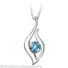 Blue Topaz Pendant Necklace And Poem Card: Granddaughter Reach For The Stars