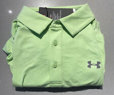 Mens Size Large Under Armour Polo Shirt Green Short Sleeve Heat Gear 1281003-712