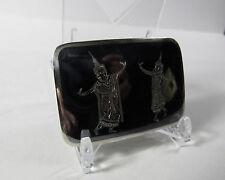 Vintage Solid Sterling Silver Black Nielloware Exotic Siam Belt Buckle 21.6 Gram