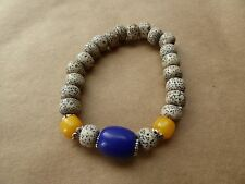 Dalmatian Jasper Beaded Boho Indie Empowering Jewelry Bracelet Silver Tone Moon