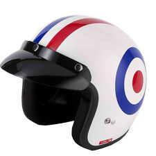 V-CAN V500 SCOOTER MOD MOTORCYCLE MOTORBIKE OPEN FACE HELMET TARGET VESPA FLAG