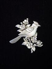 """JJ"" Jonette Jewelry Silver Pewter 'Cardinal Floral' Pin"