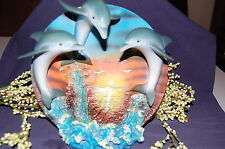 """""""Beauty Of Nature"""" Resin 3-D Dolphin Plate Stand Collector Piece IN BOX"""