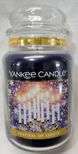 Yankee Candle FESTIVAL OF LIGHTS Large Jar 22 Oz Blue Housewarmer Wax Cinnamon