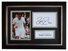 Roger Federer Signed A4 Framed Autograph Photo Display Tennis Sport AFTAL COA
