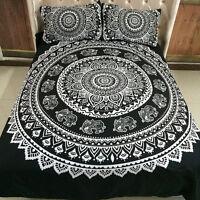 Oriental Mandala Black Duvet Doona Quilt Cover Set Queen King Size Bed Bohemian