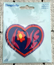 Valentine Day Embroidered LOVE HEART Iron on Patch Simplicity 3x2.75 NEW