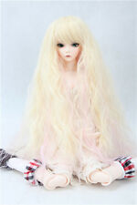 "BJD Doll Hair Wig 7-8"" 1/4 SD DZ DOD LUTS Blonde and Pink Long Wavy"