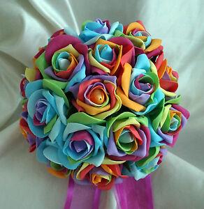 RAINBOW ROSES WEDDING FLOWERS  Multi-colour Roses Bridesmaid Posy Bouquet