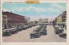 Maine Me Postcard 1940 HOULTON Market Square Looking West Stores Cars