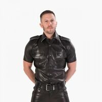 Genuine Leather Police Uniform Piped Leather Shirt Half Sleeves roleplay Fetish