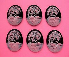 6 unset PINK FLAMINGOS & Palms on BLACK 40mm x 30mm Costume Jewelry Craft CAMEOS