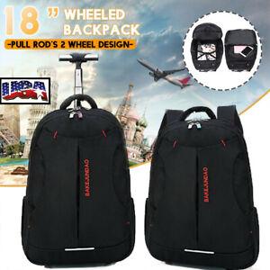 US 18'' Trolley Wheeled Backpack Handbag Laptop Travel Luggage Suitcase Rucksack
