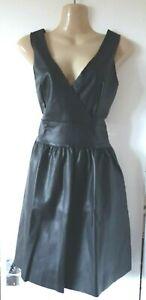 FAUX LEATHER PLUNGE BACK FLARED DRESS SIZE 8 UK (EU 36)