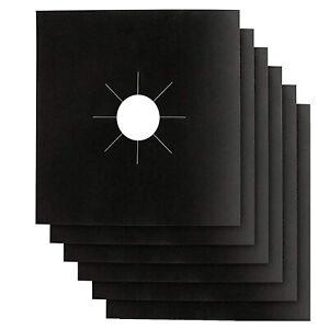 6x Reusable Non-Stick Black Gas Range Stove Top Burner Covers Protector Liner