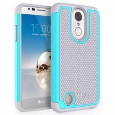 LG K4 2017 Rubber Heavy Duty Armor Impact Shockproof Hybrid Case - Teal / Gray