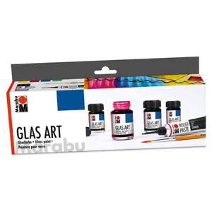 Marabu Glas Farbe Art Starter Set Malen Porzellan Acryl Glas Relief Paste Pinsel