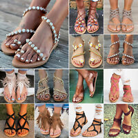 Womens Ladies Sandals Summer Holiday Floral/Tassel Flip Flops Casual Flats Shoes