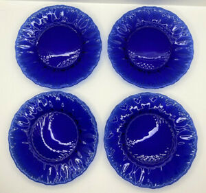 Vtg Arcoroc France Sapphire Cobalt Blue Palm Tree Diamond Leaf ~ 4 Salad Plates