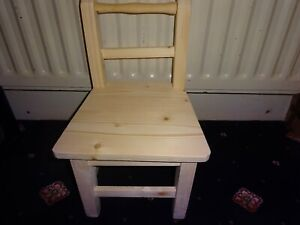 Toddler Wooden Chair, 100% Wood, Handmade, Unpainted, Strong and Fun, Child