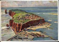 "Postkarte PK Ansichtskarte ungelaufen Helgoland Insel Klippen ""Ölbild"" 1937"
