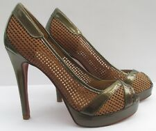 Dune size 4 (37) bronze patent leather & tan leather high heel peep toes