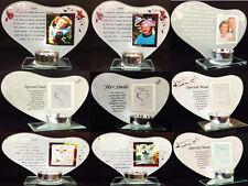 Her/His Smile Mum Dad Nan Grandad Dog Cat Candle Photo Frame Poem Memory Plaque