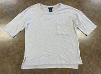 Chelsea & Theodore Womens Tan 3/4 sleeve Stretch knit top size S