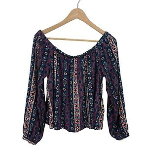 Tigerlily Womens Size 8 Cropped Off Shoulder Paisley Multi-Coloured Boho Top