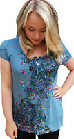 SIZE 8- 18 LADIES T SHIRT - TEAL PURPLE SEQUIN TOP WOMENS
