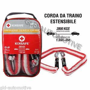 CORDA FUNE da TRAINO Estensibile 1,5/4m Gancio Acciaio Trainare Auto KIKSAFE
