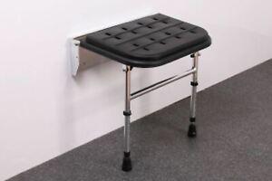 PROCARE Bathroom Seat Black Padded Aluminium Wall Mount Shower Mobility BNIB