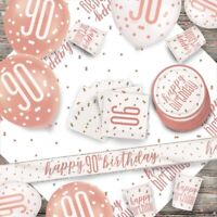 Rose Gold Glitz 90th Birthday Party Supplies Tableware, Decorations, Balloons