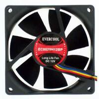 Evercool 80mm x 25mm DC 12v Hi Speed Ball Replacement Fan 4 pin PWM EC8025H12BP