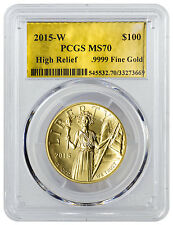 2015-W American Liberty Gold High Relief $100 PCGS MS70 Gold Foil Label SKU38350