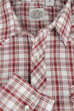 Gibson Hombre Rojo Blanco y Negro Cuadros Cowboy Del Oeste a Presión Camisas XL