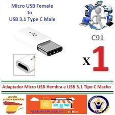 Adaptador Micro USB HEMBRA a USB 3.1 Tipo C MACHO Micro Female to USB 3.1  C91