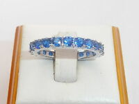 Ladies Hand Made Sterling Solid 925 Silver Blue Sapphire Full Eternity Ring