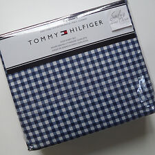 Tommy Hilfiger GINGHAM CHECK 4pc KING BED SHEET SET Navy Blue Plaid COTTON Blend