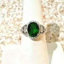 SIMULATED EMERALD -  WHITE CZ STERLING SILVER RING SIZE 7 - 2.85 CTW