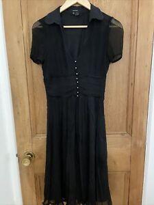 Zara Basics Black Polka Dot Shirt Button Down Womens Dress 6-8