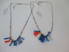 Anthropologie Orange Blue Fringe Silver Necklace NWT $18