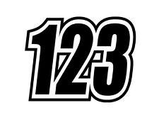 3 x Custom Race Numbers Vinyl Stickers for Motocross, Racing Kart, MX, Pit bike.