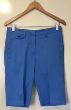 New listing WOMENS 'JACK SPICKLAUS' Size S BLUE GOLF KNEE SHORTS FLAT FRONT ZIP LOGO POCKETS