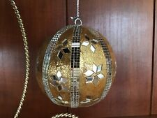 Vintage Gold Silver Mirror Ball Christmas Ornament GORGEOUS